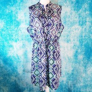 Indulge Boho Tribal Blue Green Sleeveless Dress
